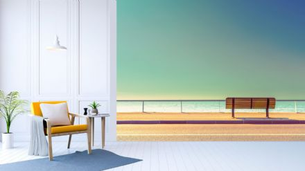 Beanch and sea view wall mural wallpaper Premium